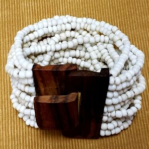 3 for $25 ❤ hand crafted - white bead stretch cuff